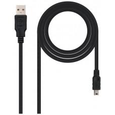 CABLE USB 2.0 A/M-MINI USB 5PIN/M 0.5M NEGRO NANOCABLE