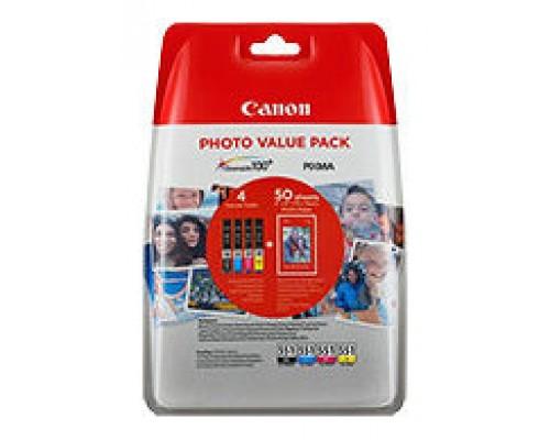 TINTA CANON CLI551XL PACK DE 4 - 50 HOJAS DE PAPEL FOTOGRAFICO